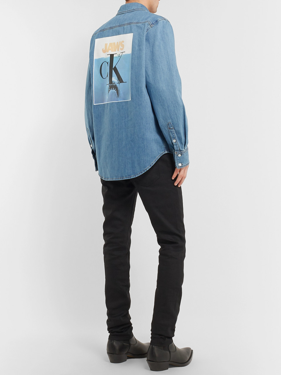 CALVIN KLEIN 205W39NYC Jaws Printed Denim Shirt