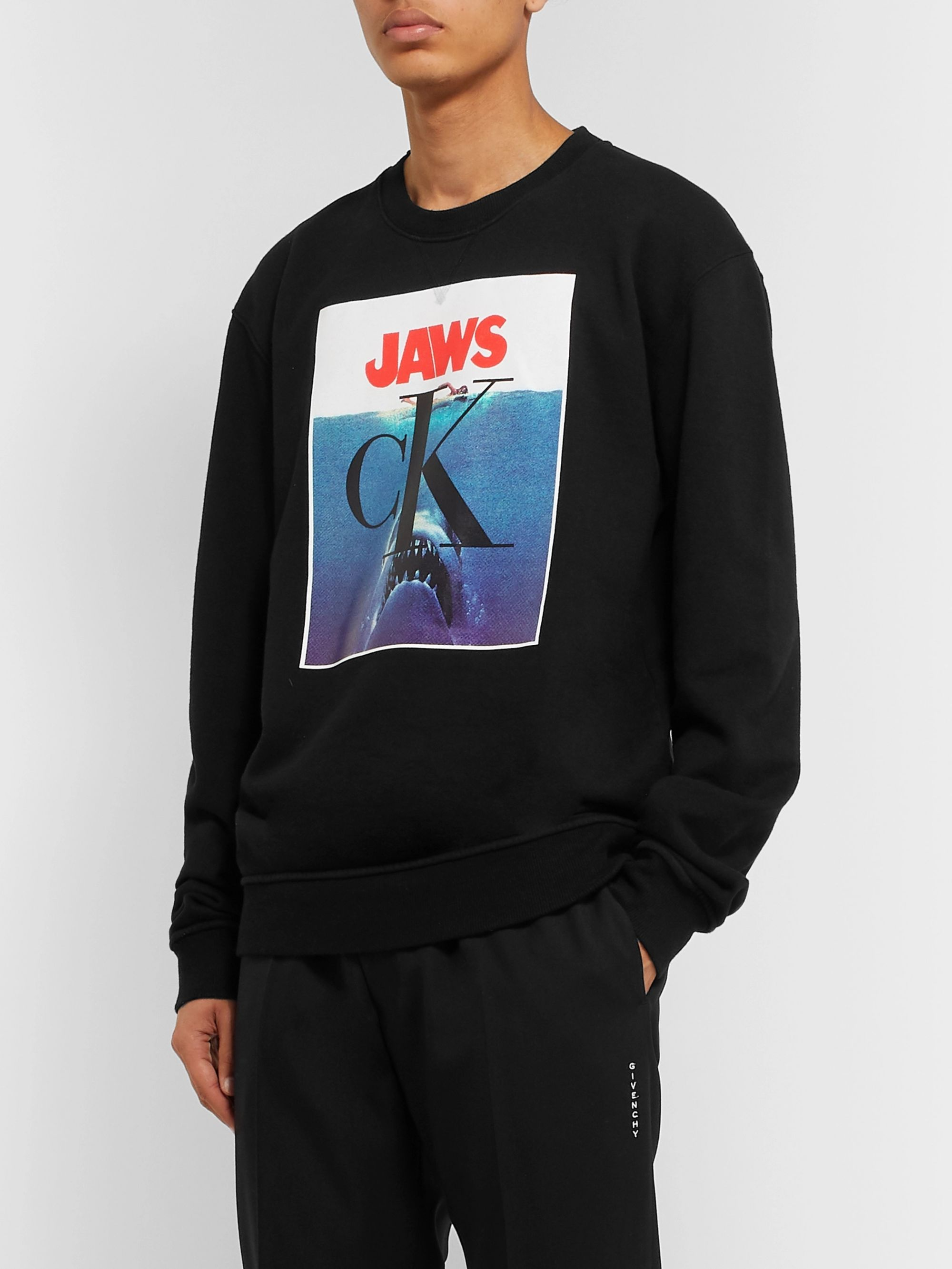 CALVIN KLEIN 205W39NYC Jaws Printed Loopback Cotton-Jersey Sweatshirt