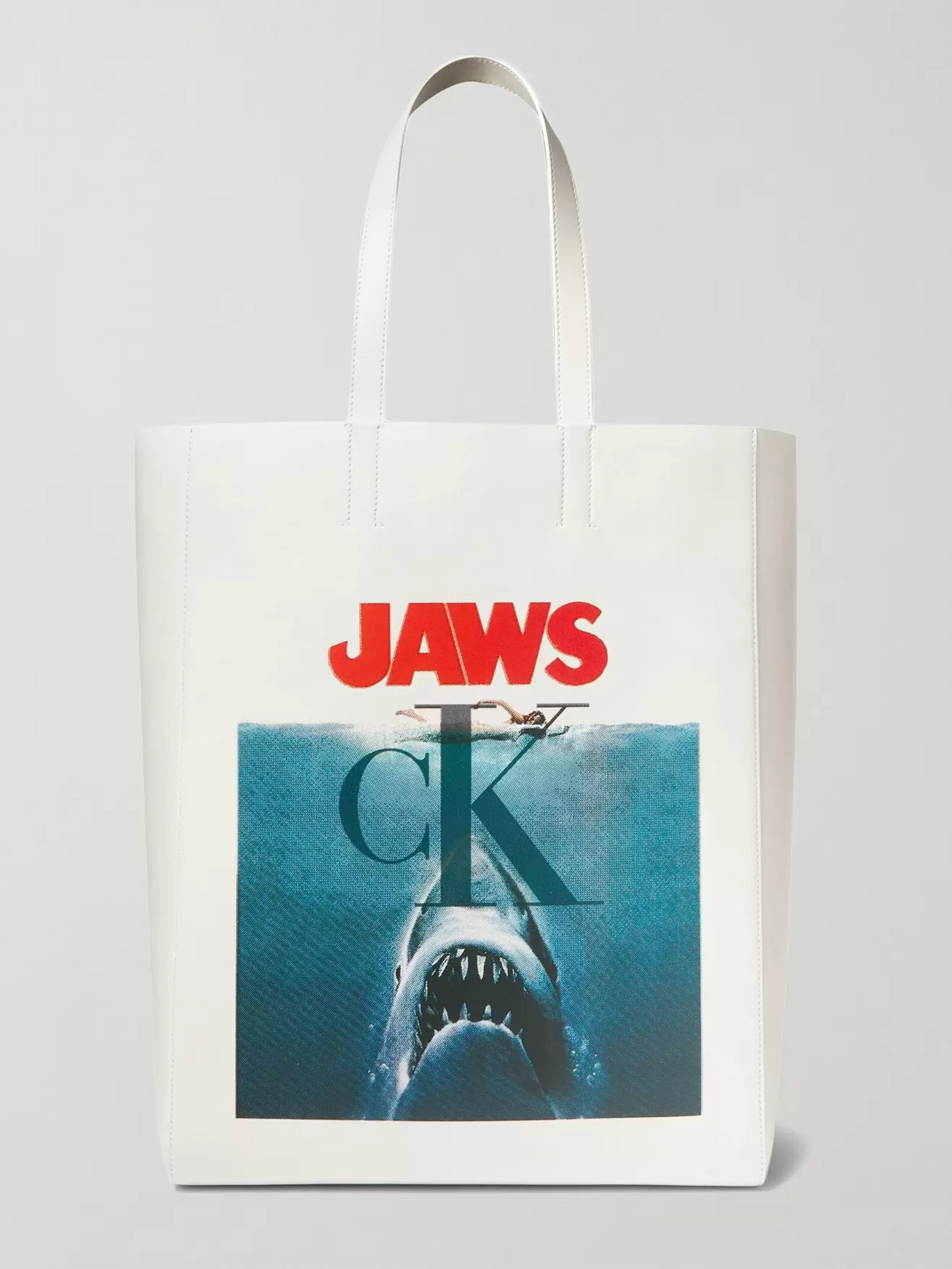 Jaws Printed Leather Tote Bag by Calvin Klein 205 W39 Nyc