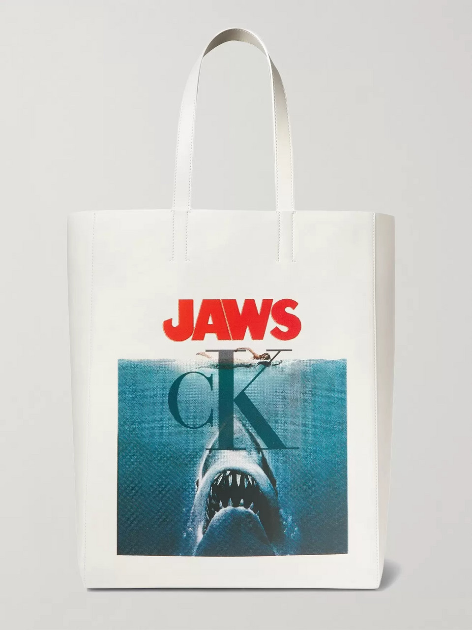 CALVIN KLEIN 205W39NYC Jaws Printed Leather Tote Bag