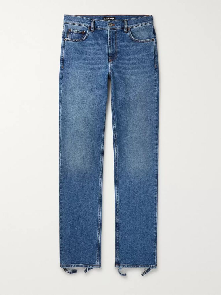 Balenciaga Slim-Fit Distressed Stretch-Denim Jeans