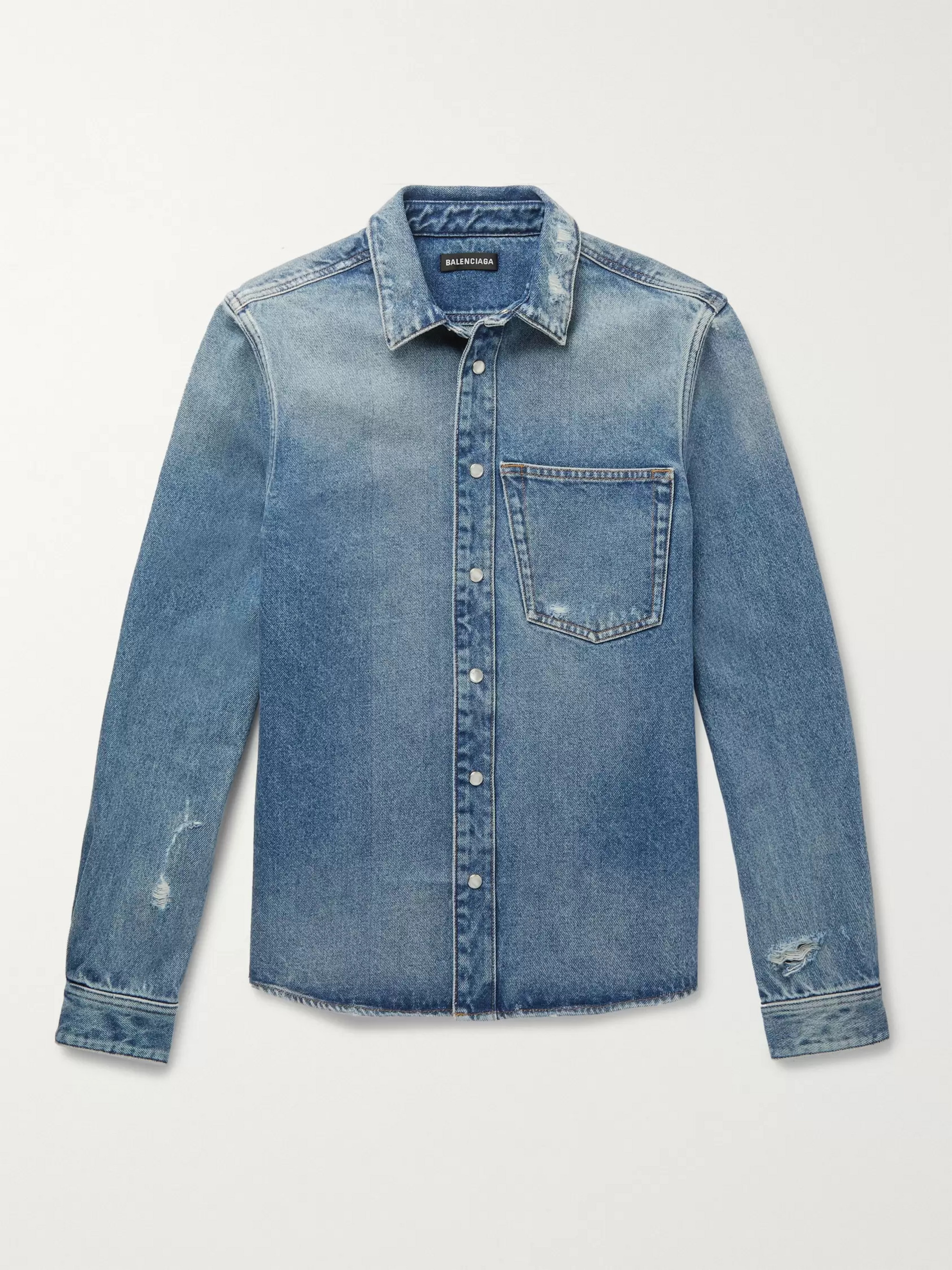 Balenciaga Embroidered Distressed Denim Shirt