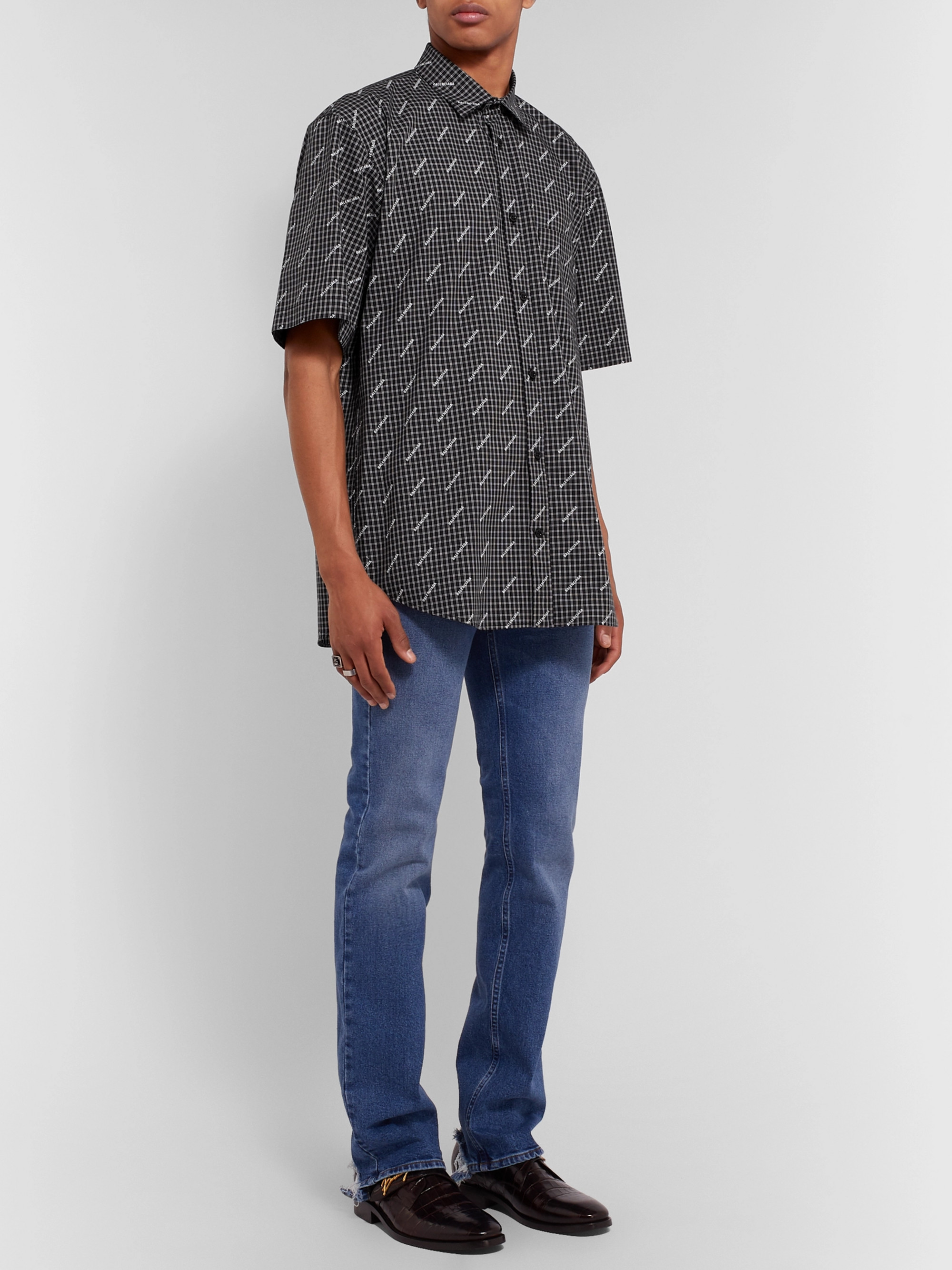 a455b8819f10 Black Logo-Print Checked Cotton-Poplin Shirt | Balenciaga | MR PORTER