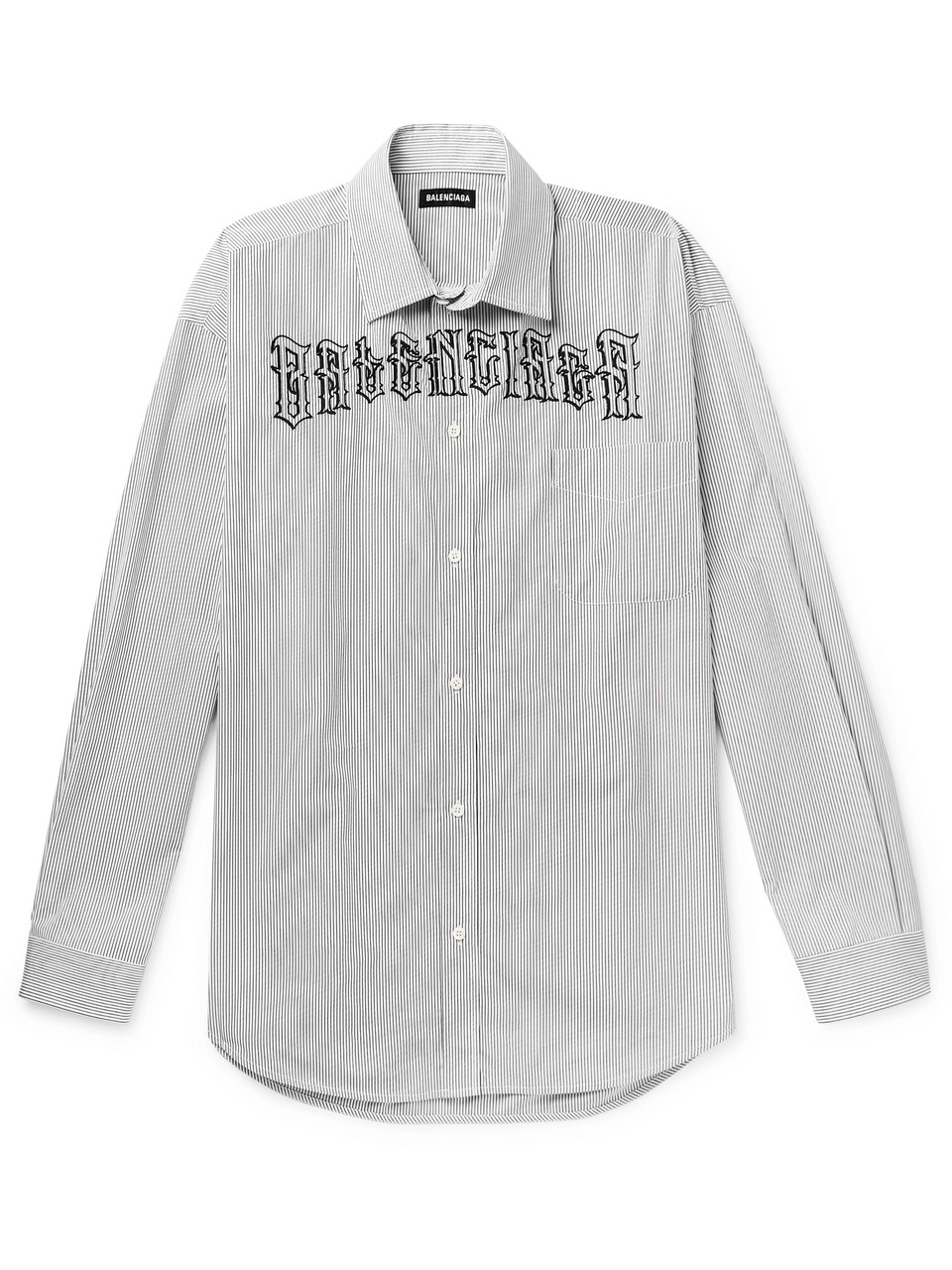 Balenciaga Logo-Embroidered Striped Cotton-Poplin Shirt