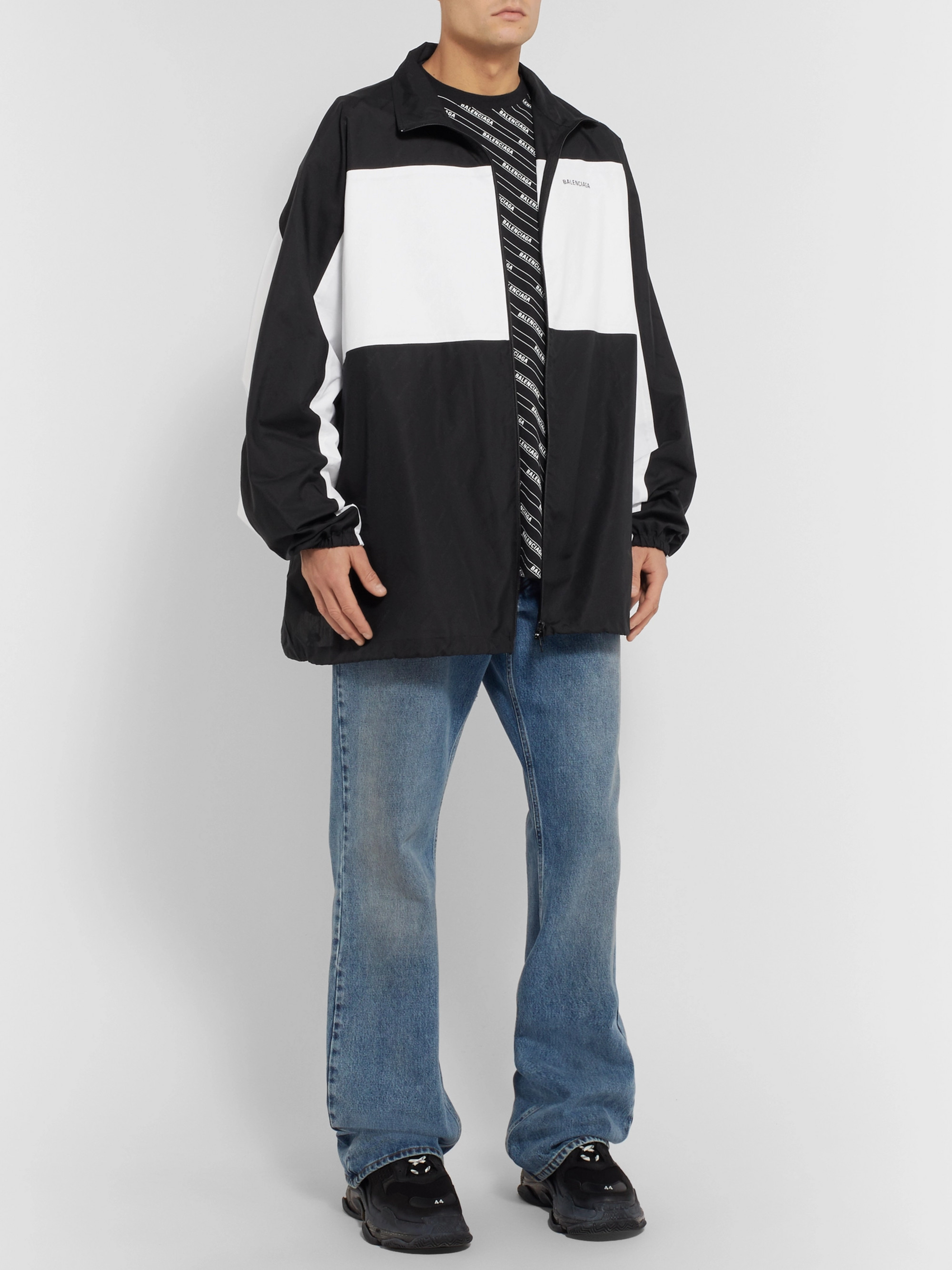 Balenciaga Oversized Logo Print Cotton Jacket