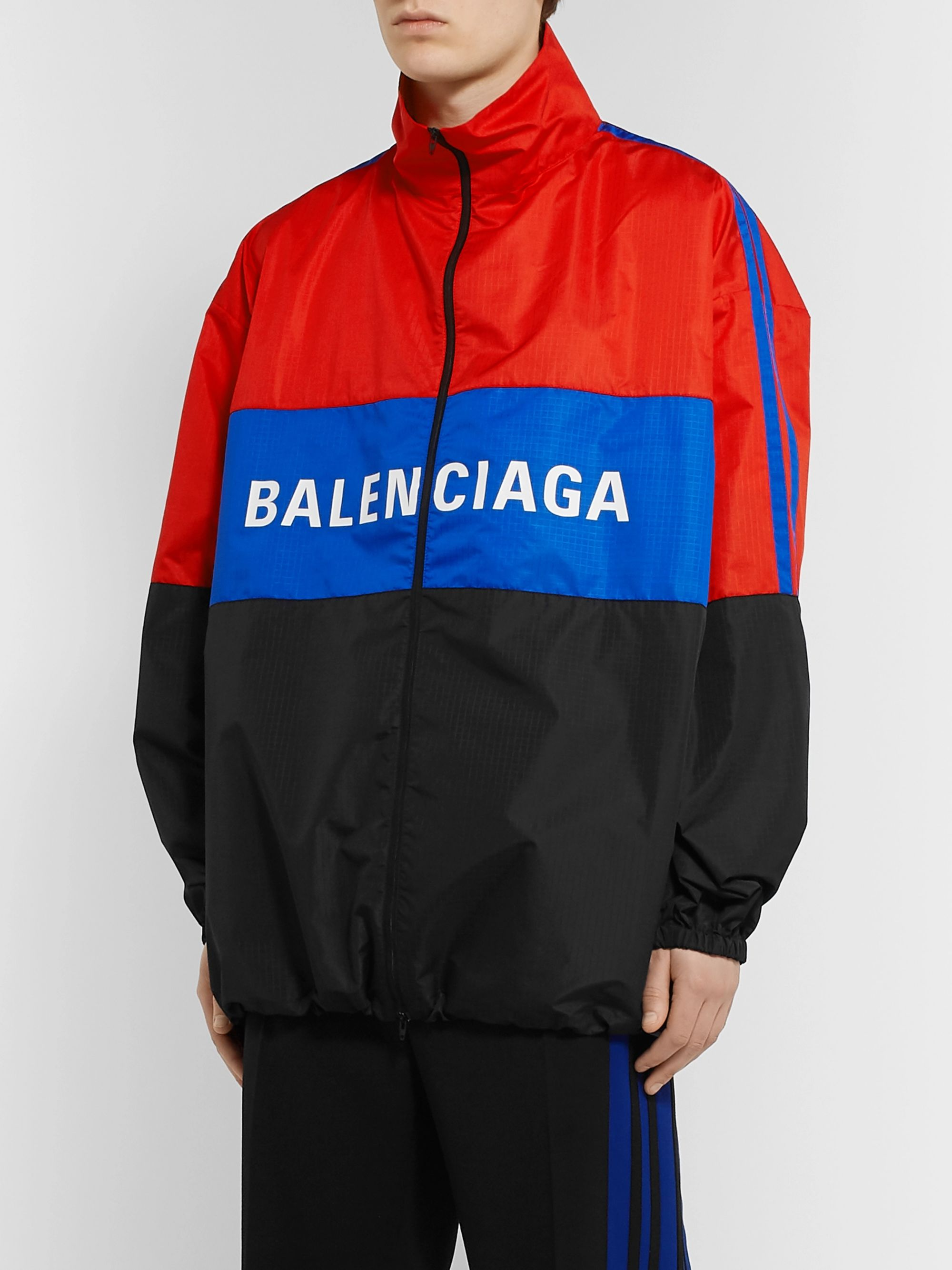 Balenciaga Oversized Colour-Block Logo-Print Ripstop Jacket