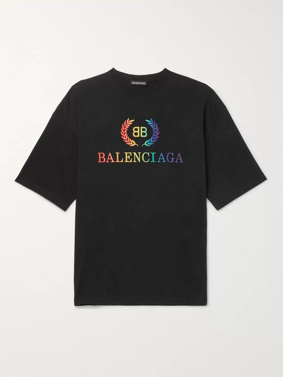 Balenciaga Logo-Embroidered Cotton-Jersey T-Shirt