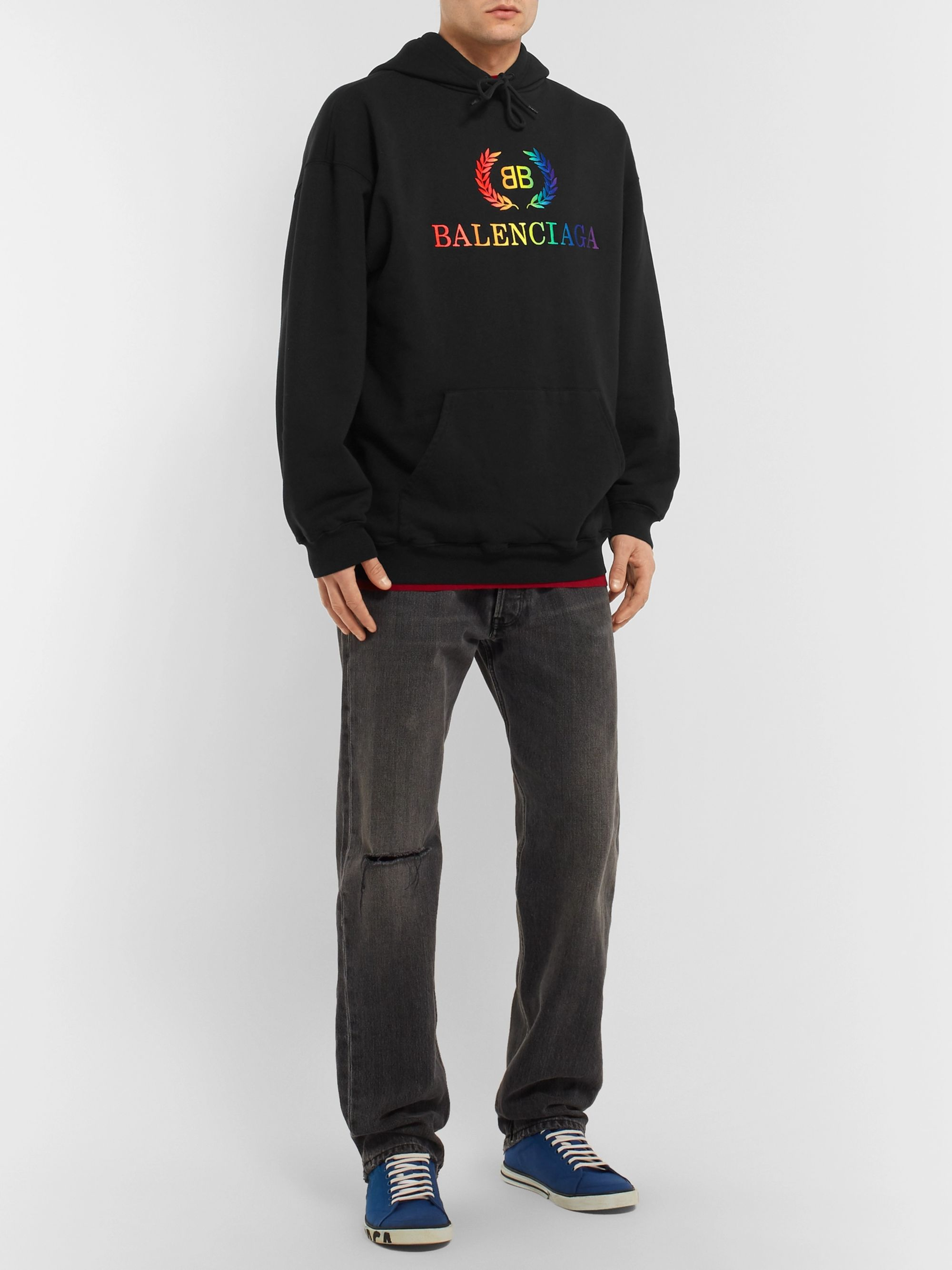 Balenciaga Oversized Logo-Embroidered Loopback Cotton-Jersey Hoodie