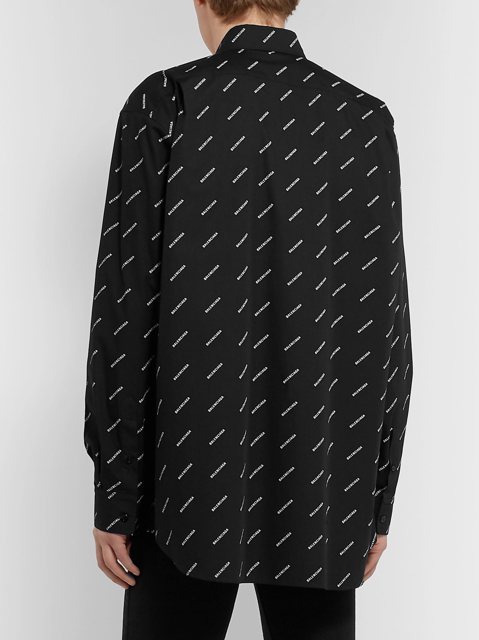 Balenciaga Button-Down Collar Logo-Print Cotton Shirt