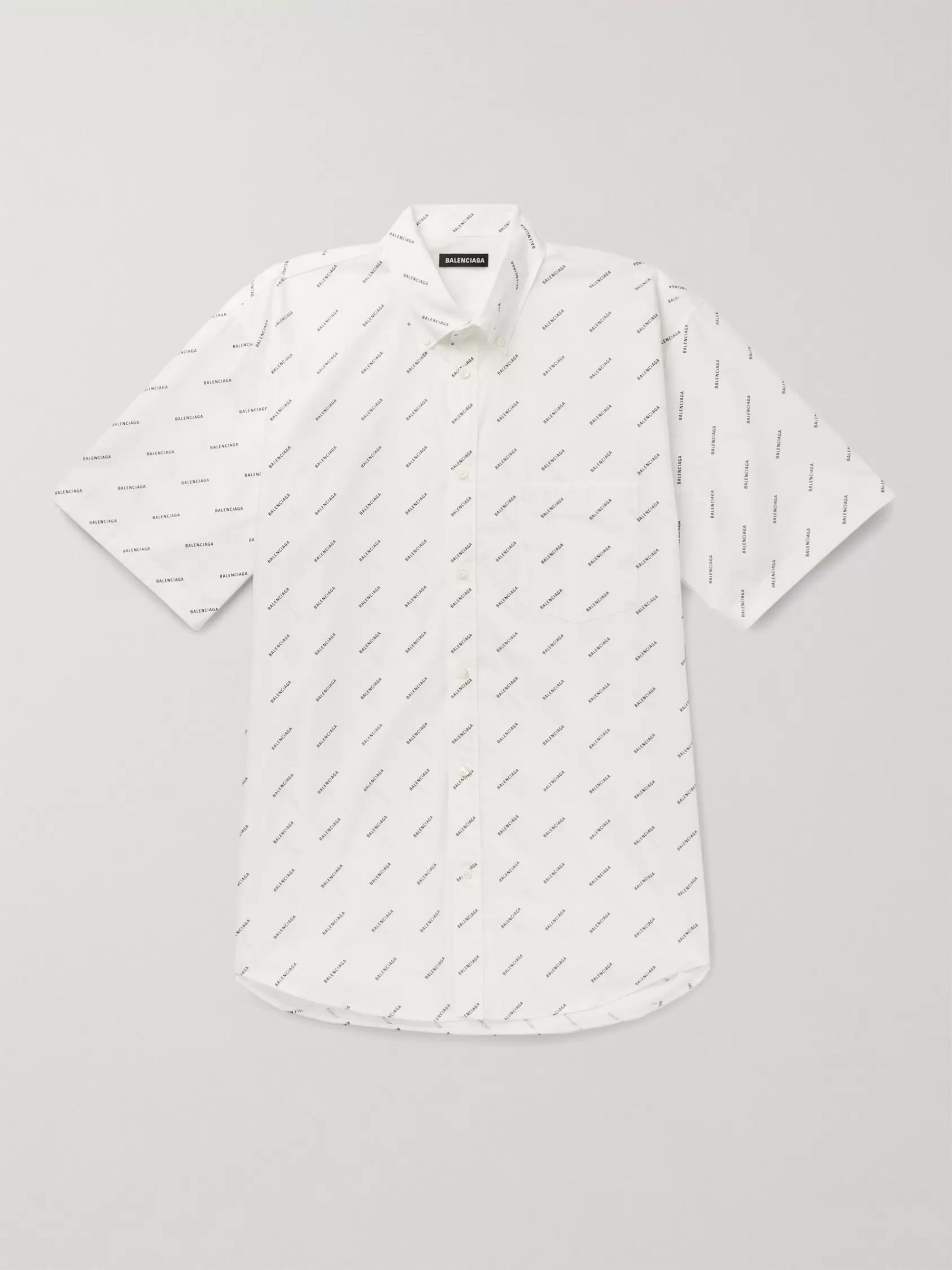 Balenciaga Button-Down Collar Logo-Print Cotton-Poplin Shirt