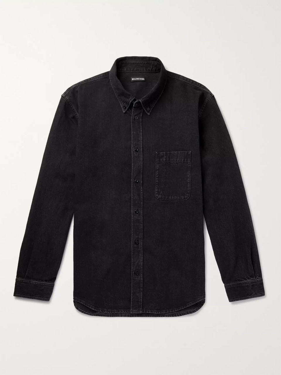 Balenciaga Button-Down Collar Logo-Print Denim Shirt