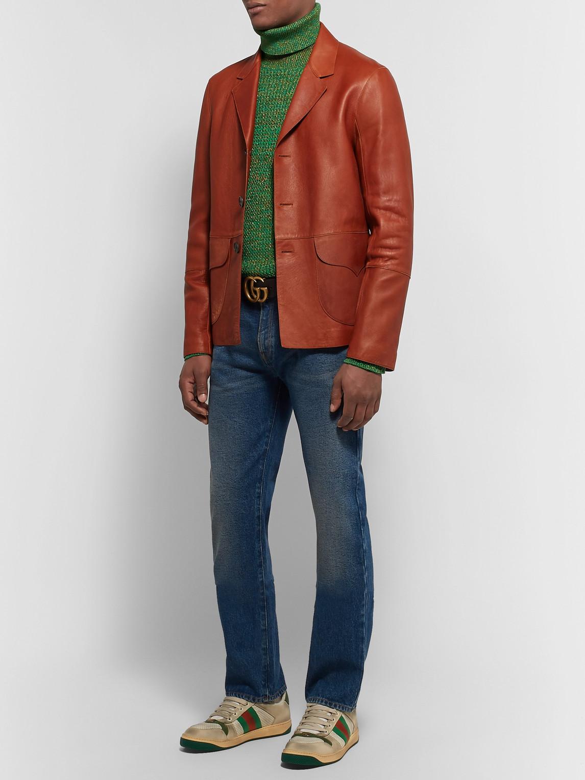 Gucci Sweaters SLIM-FIT METALLIC MÉLANGE COTTON-BLEND ROLLNECK SWEATER