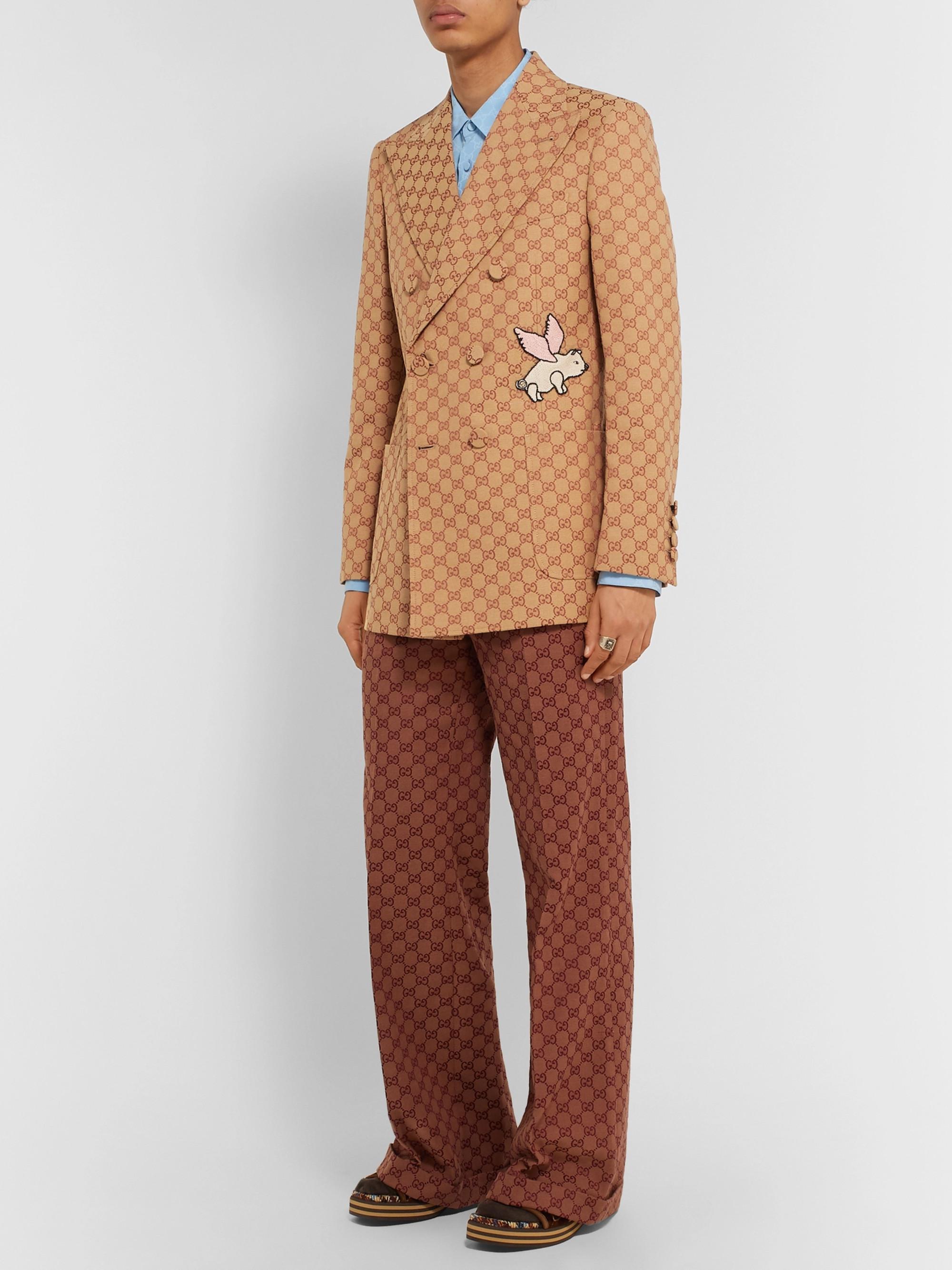 Gucci Beige Double-Breasted Appliquéd Logo-Jacquard Cotton-Blend Suit Jacket