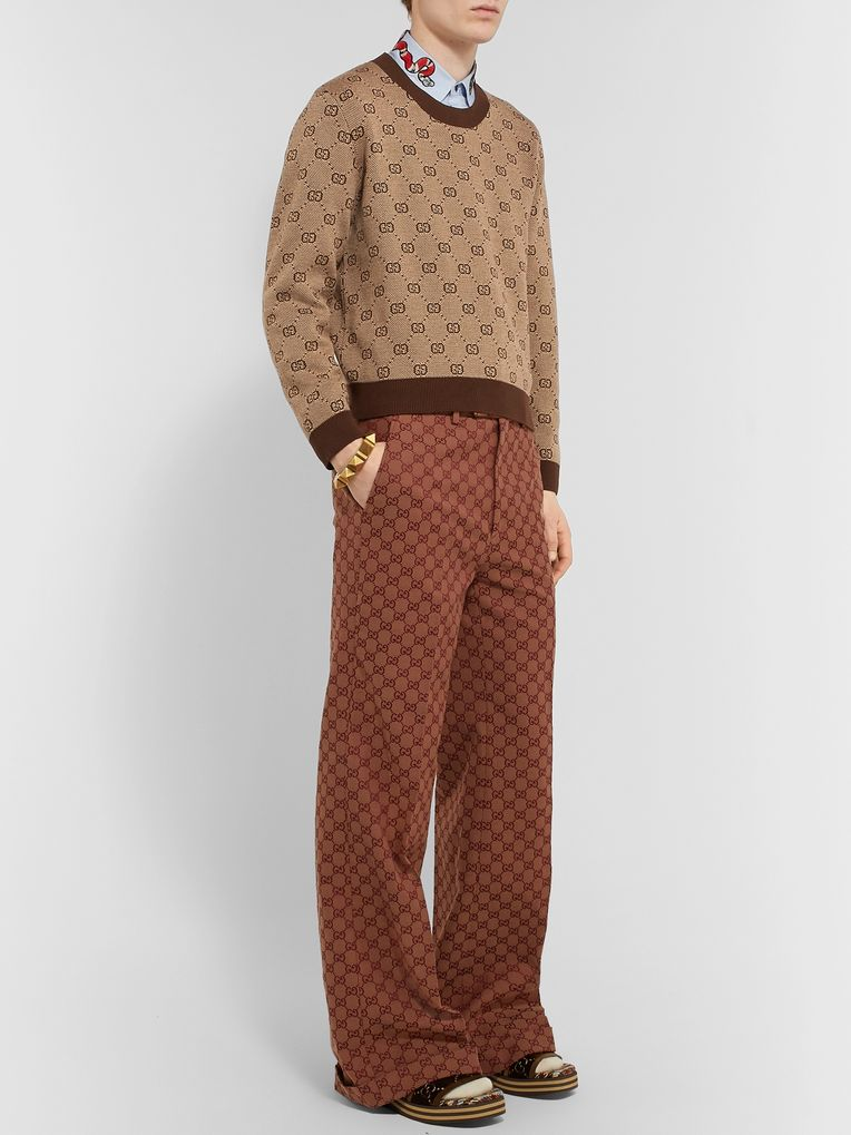 Gucci Cropped Logo-Jacquard Wool and Cotton-Blend Sweater