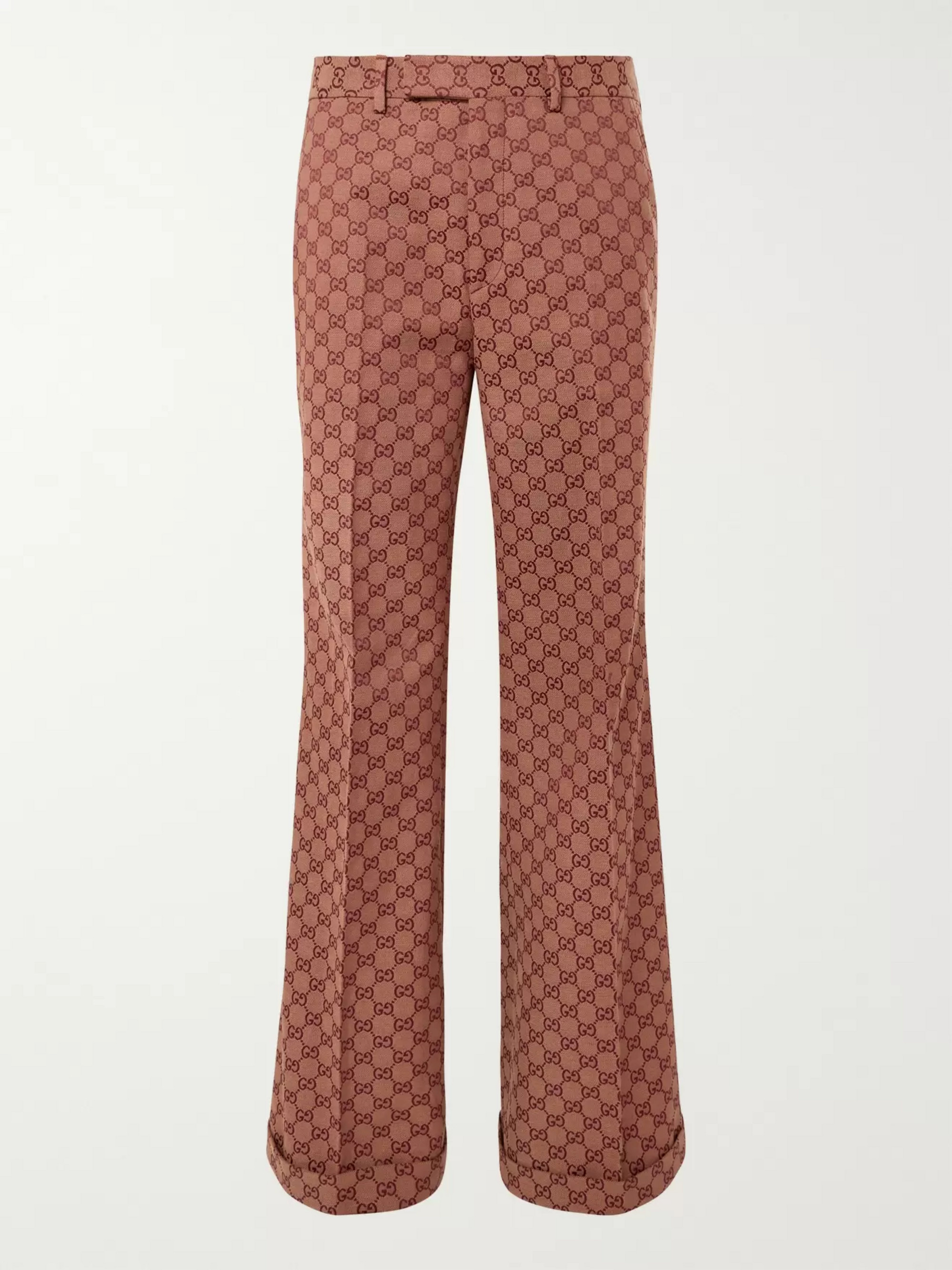 Gucci Wide-Leg Logo-Jacquard Cotton-Blend Trousers
