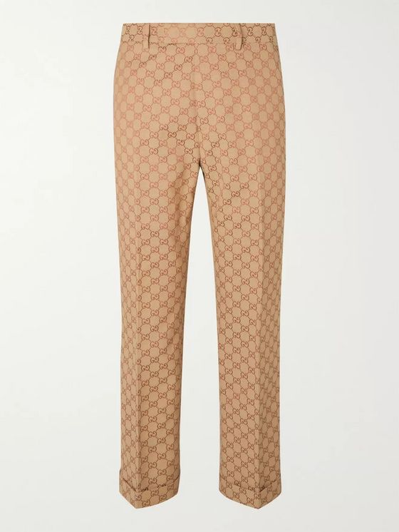 GUCCI Slim-Fit Logo-Jacquard Cotton-Blend Suit Trousers