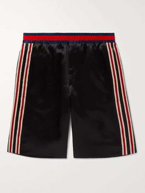 Gucci Wide-Leg Webbing-Trimmed Embroidered Satin Shorts