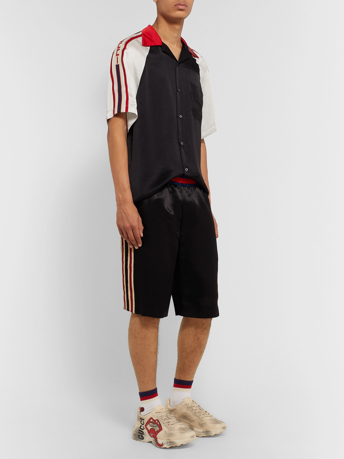 Gucci Shorts WIDE-LEG WEBBING-TRIMMED EMBROIDERED SATIN SHORTS