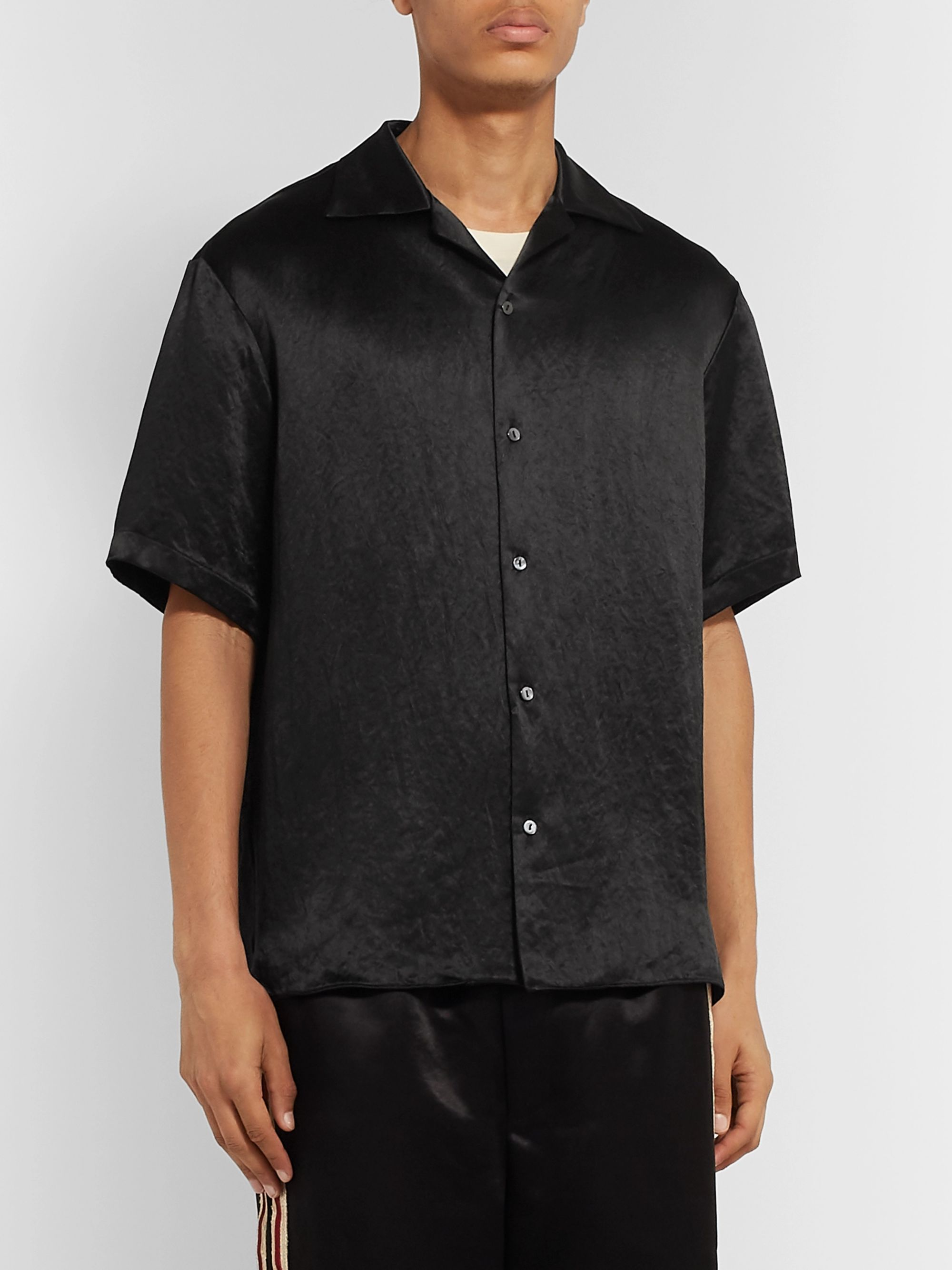 Gucci Camp-Collar Embellished Satin Shirt