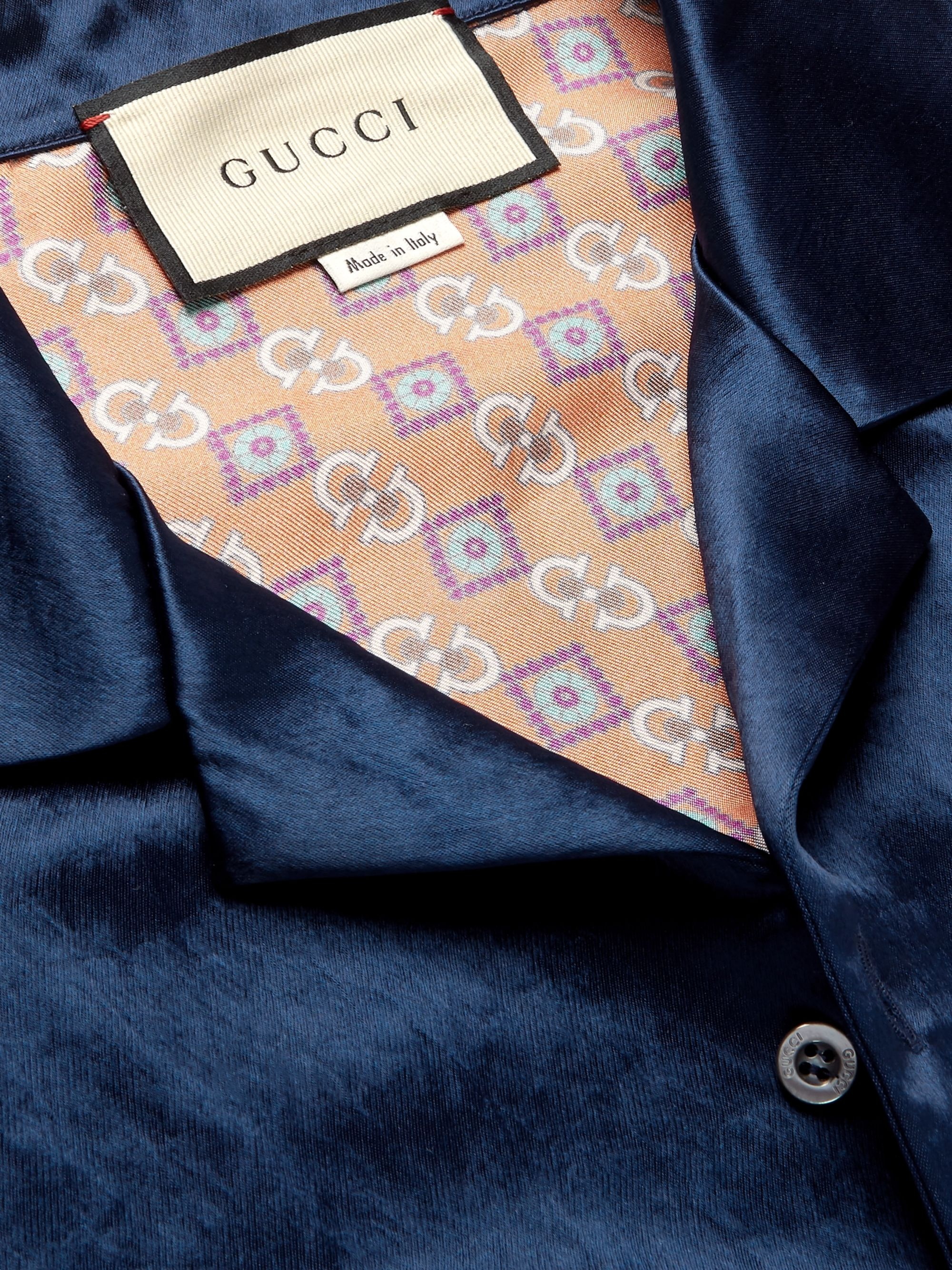 Gucci Camp-Collar Satin and Printed Silk-Twill Shirt