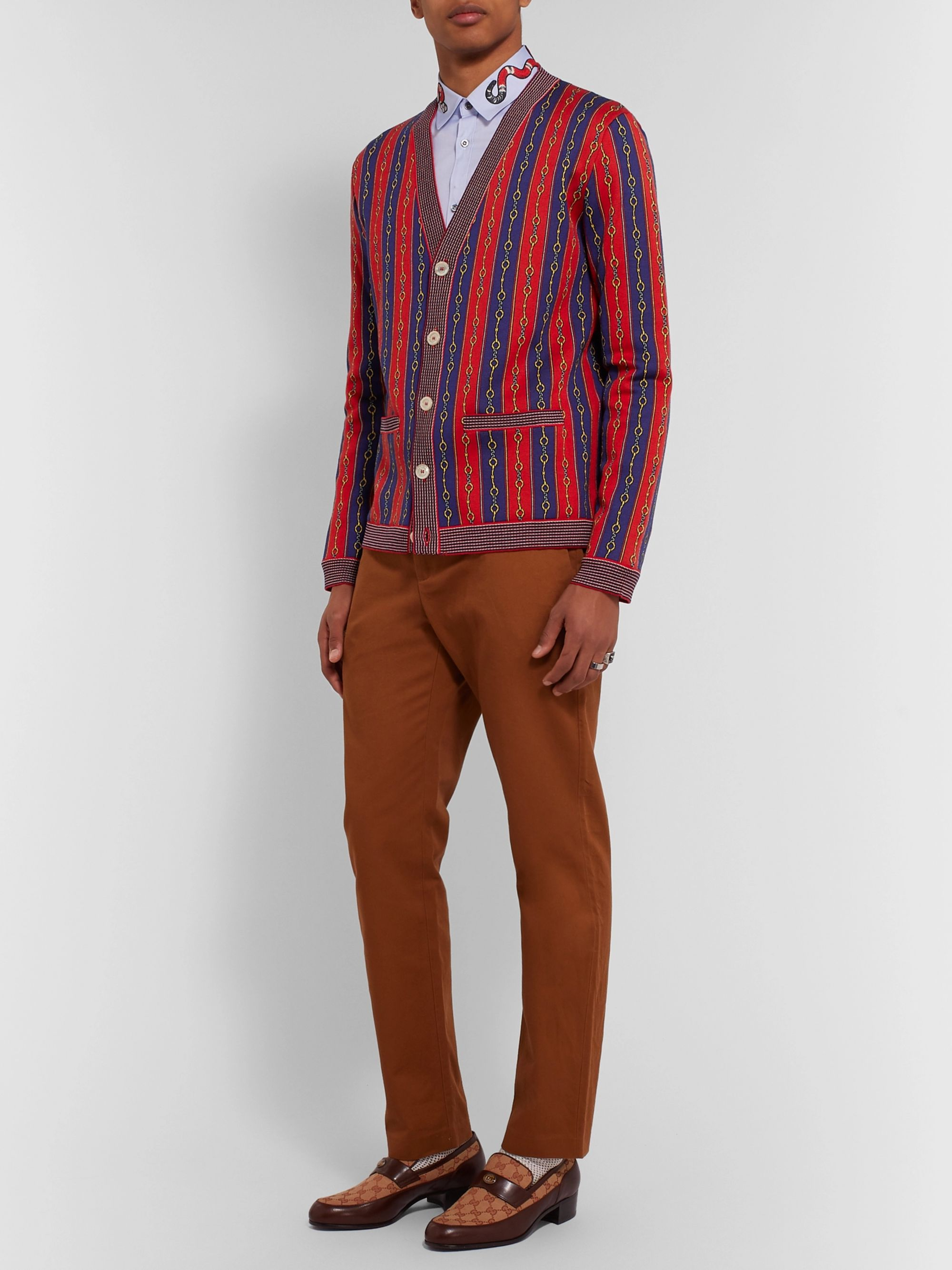 Gucci Cotton, Wool and Cashmere-Blend Jacquard Cardigan