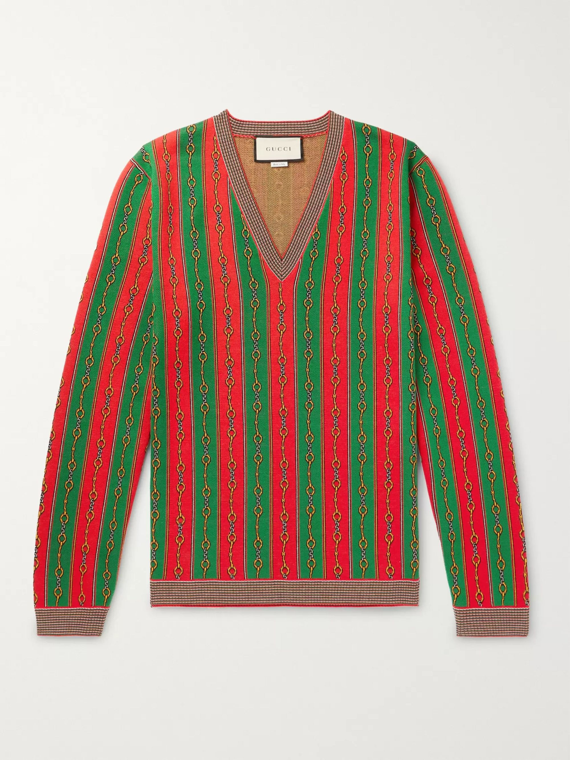 Gucci Cotton, Wool and Cashmere-Blend Jacquard Sweater