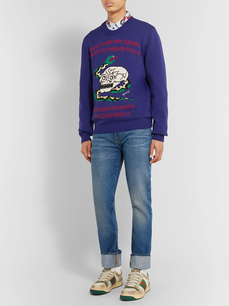 Gucci Embellished Intarsia Wool and Cotton-Blend Sweater