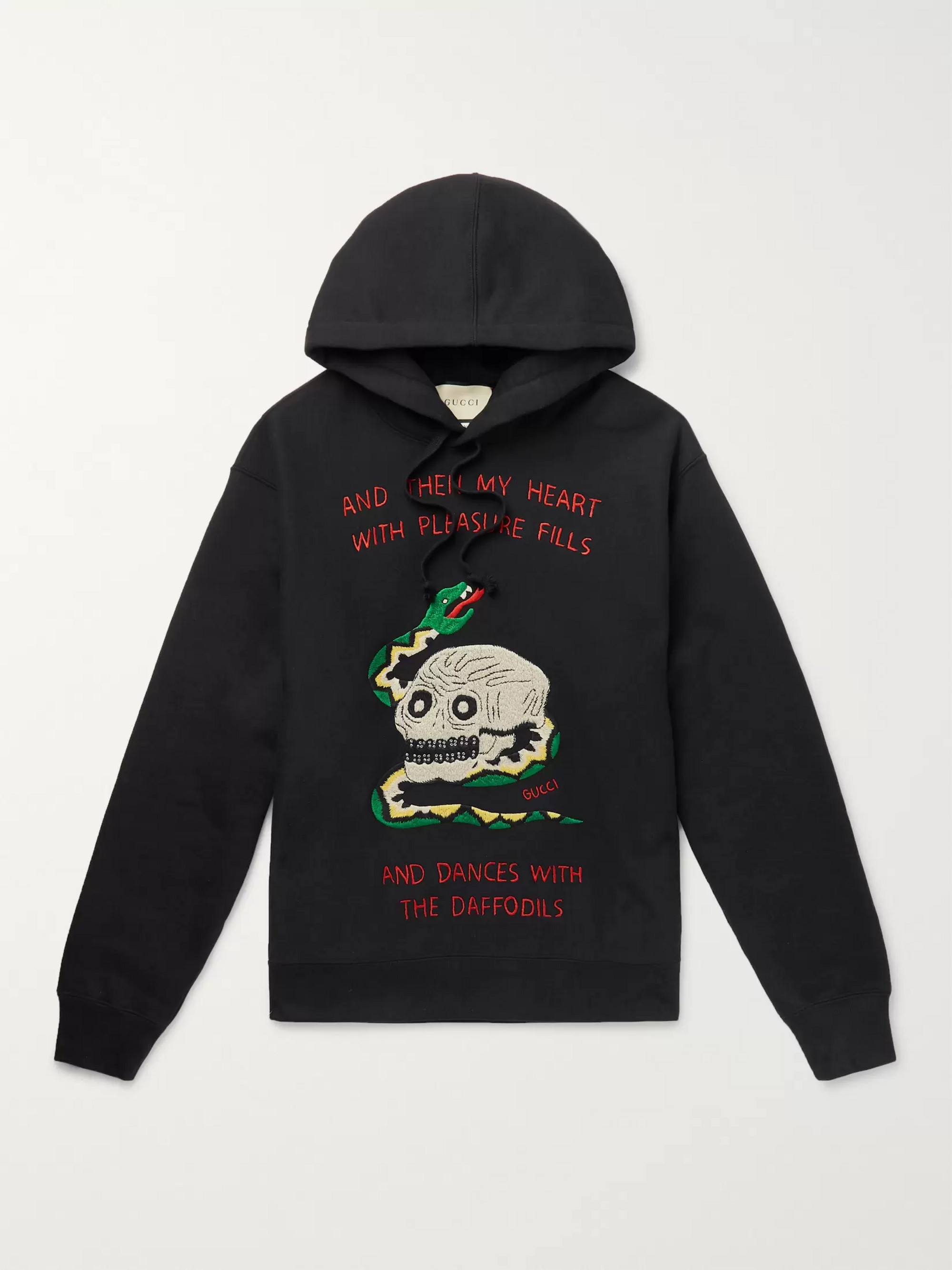 Gucci Embroidered Loopback Cotton-Jersey Hoodie