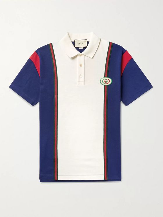 Gucci Logo-Appliquéd Webbing-Trimmed Cotton-Jersey Polo Shirt