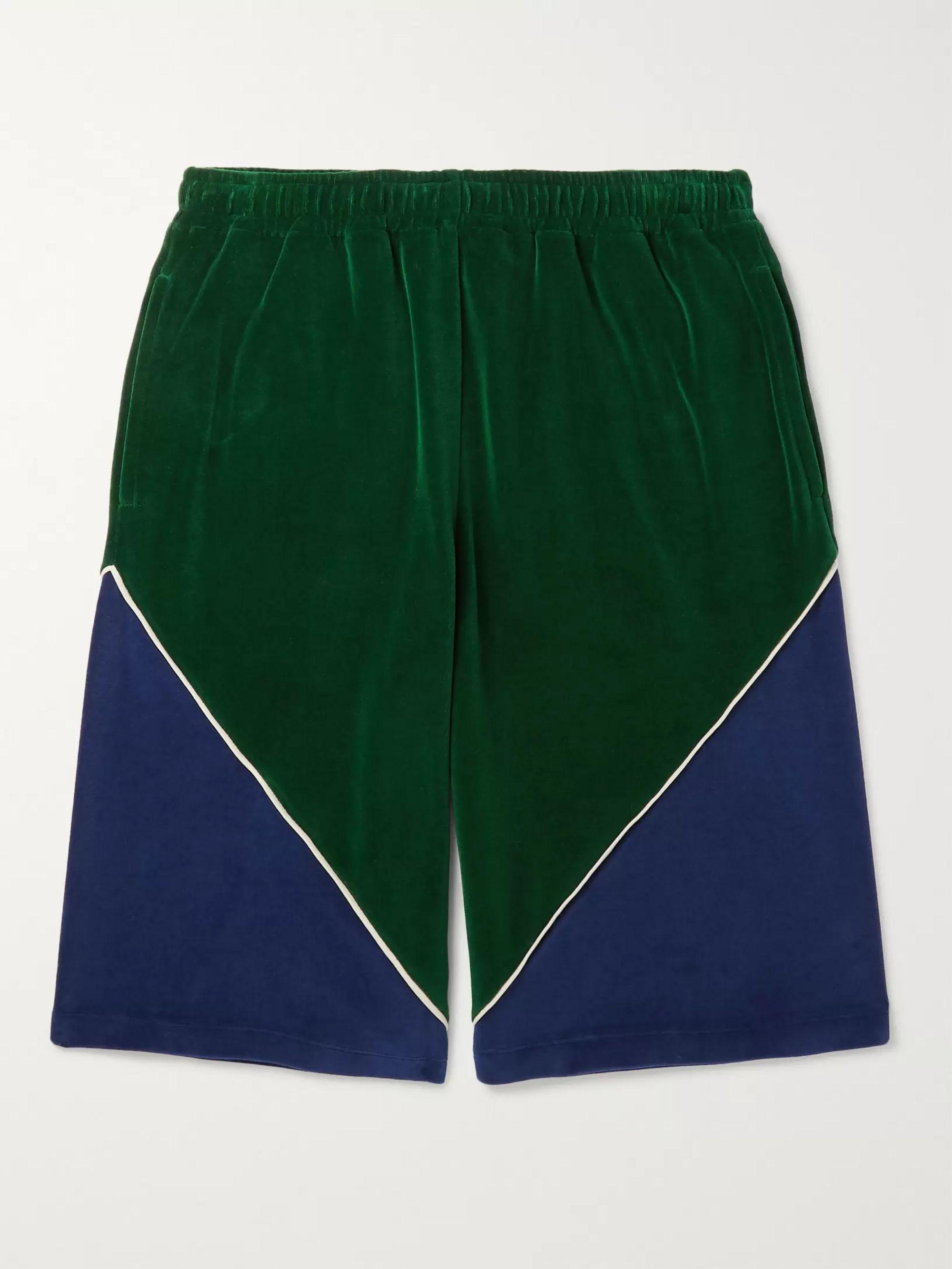 구찌 Gucci Colour-Block Cotton-Blend Velvet Drawstring Shorts,Green