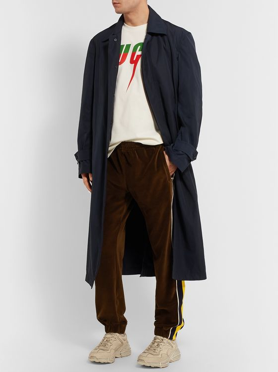 GUCCI Tapered Webbing-Trimmed Velvet Track Pants