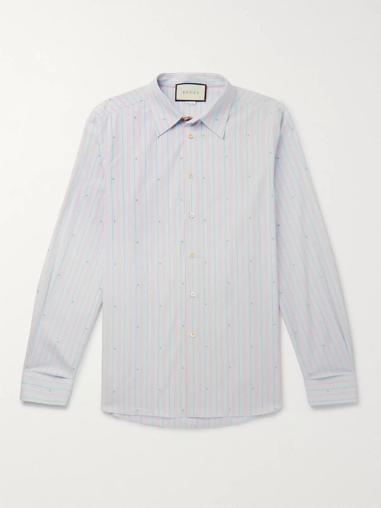 Gucci Embroidered Striped Cotton Shirt