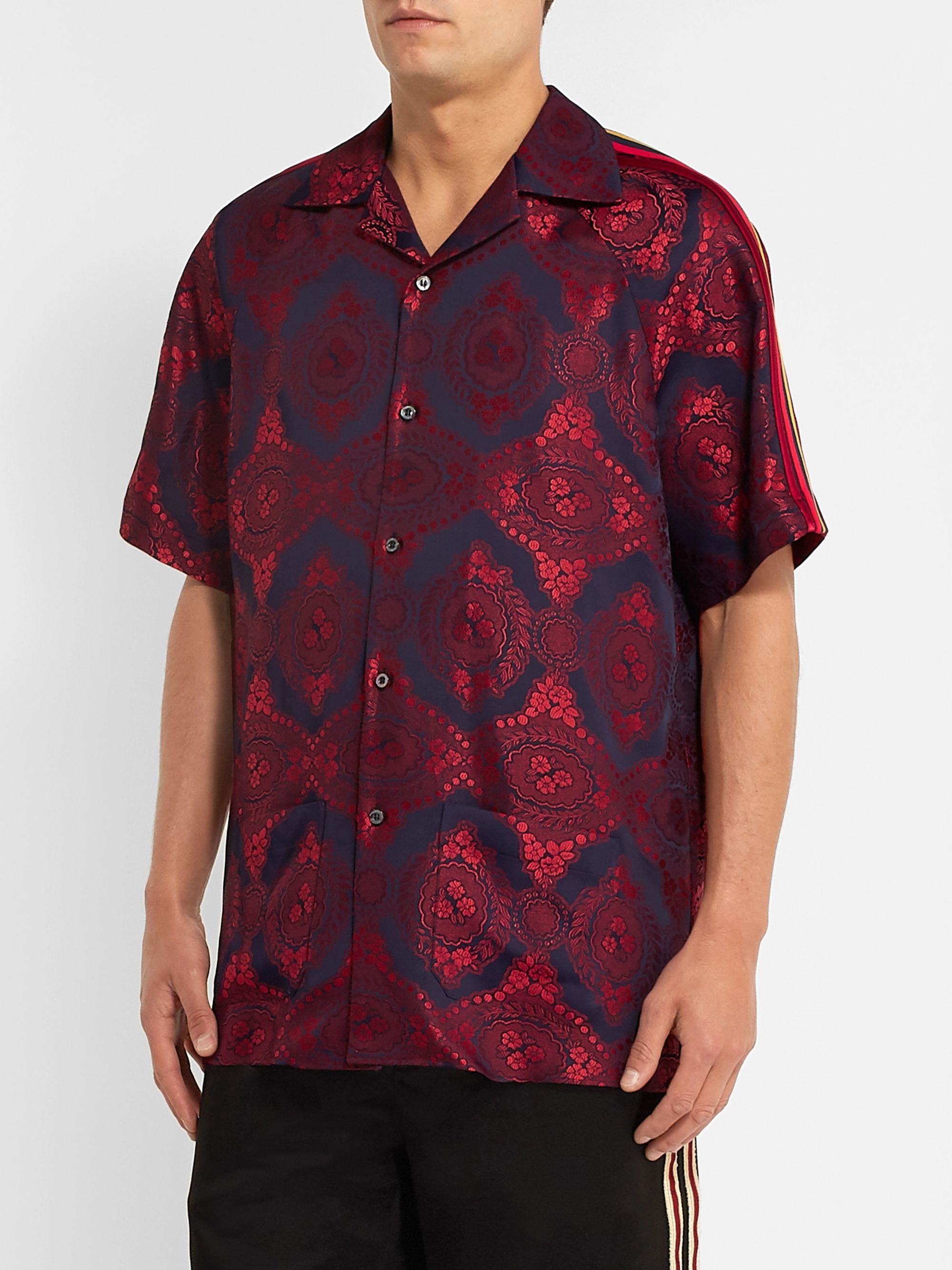 Gucci Camp-Collar Webbing-Trimmed Jacquard Shirt