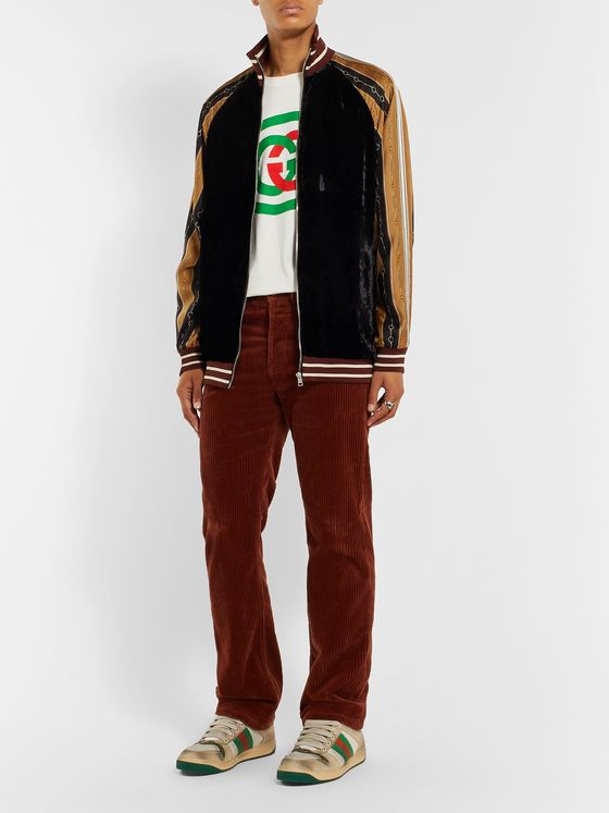 Gucci Webbing-Trimmed Silk-Velvet and Printed Satin Bomber Jacket