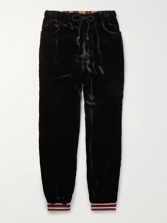 Gucci Webbing-Trimmed Tapered Silk-Velvet and Printed Satin Sweatpants