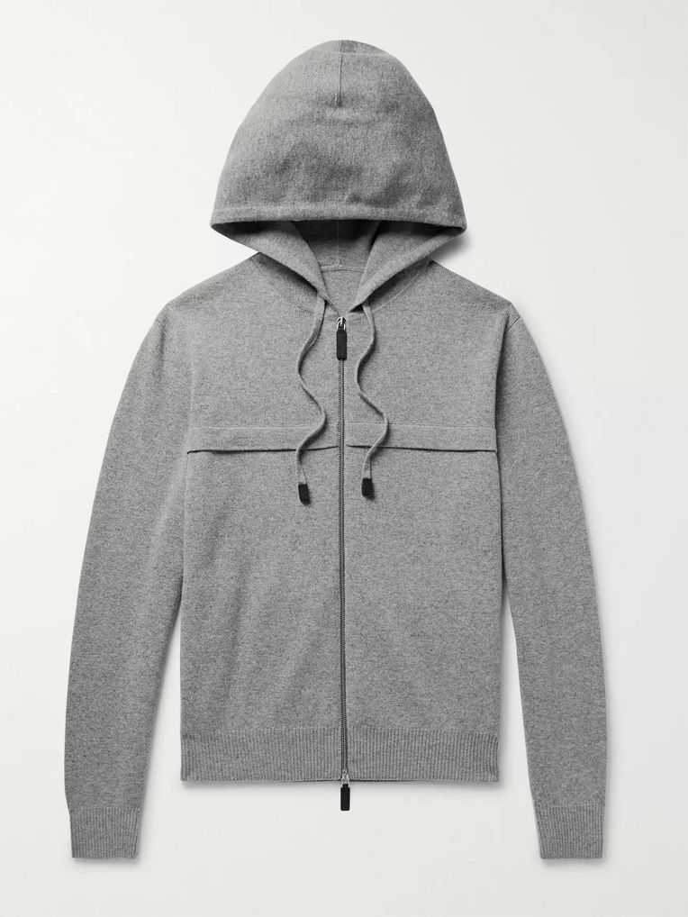 Berluti Leather-Trimmed Knitted Zip-Up Hoodie