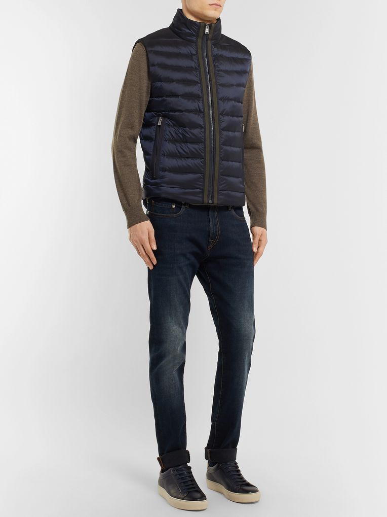 Hugo Boss Reversible Grosgrain-Trimmed Quilted Shell Down Gilet
