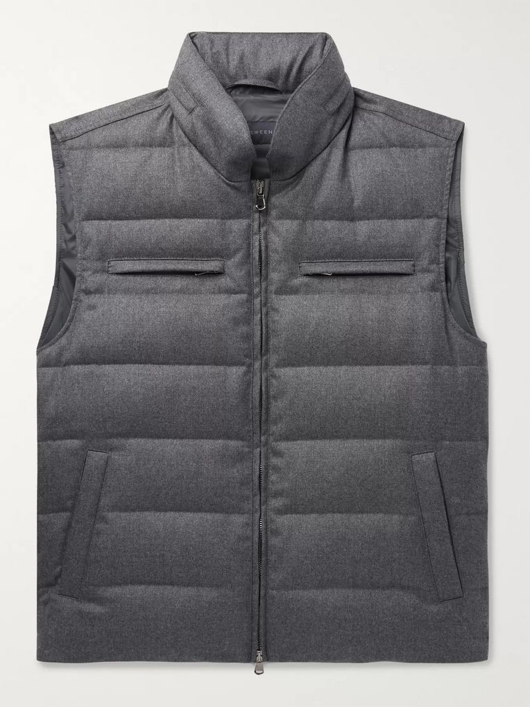 Thom Sweeney Quilted Wool Hooded Down Gilet