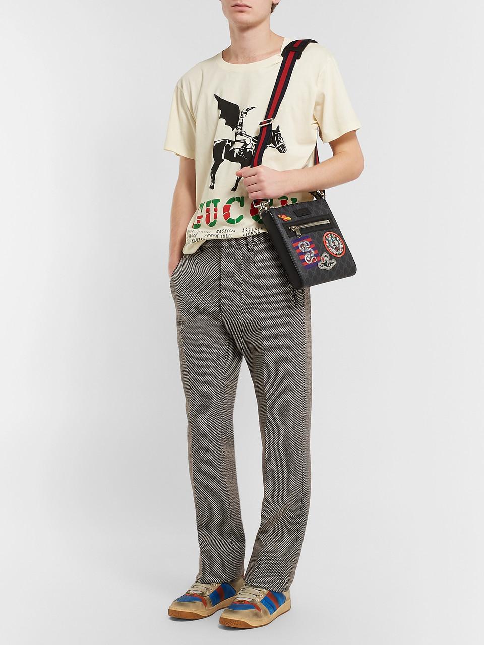 4ac1192c452201 Gucci Night Courrier Leather-Trimmed Appliquéd Monogrammed Coated-Canvas  Messenger Bag