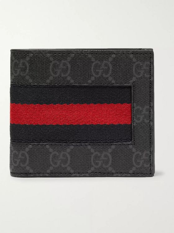Gucci Webbing-Trimmed Monogrammed Coated-Canvas Billfold Wallet