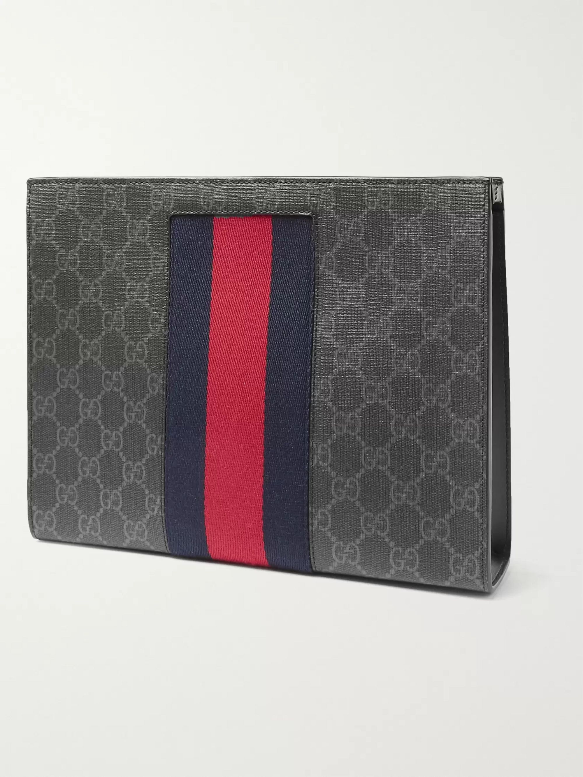Gucci Webbing-Trimmed Monogrammed Coated-Canvas Pouch