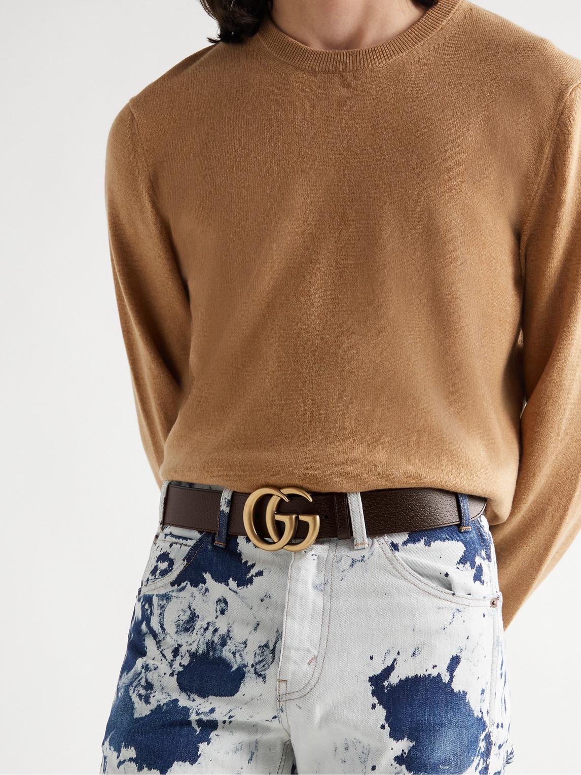 Gucci Belts 4CM BLACK FULL-GRAIN LEATHER BELT