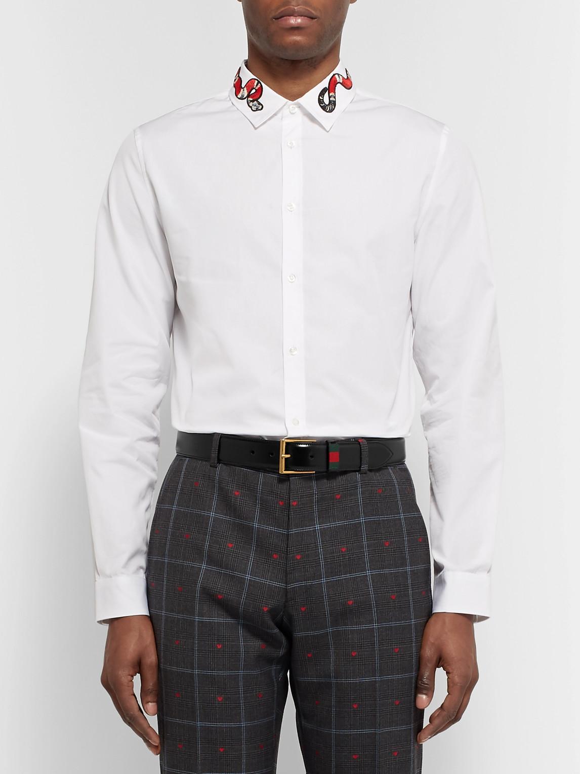 Gucci Belts 3.5CM BLACK WEBBING-TRIMMED LEATHER BELT