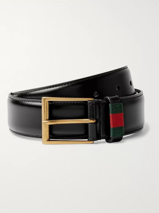 Gucci 3.5cm Black Webbing-Trimmed Leather Belt