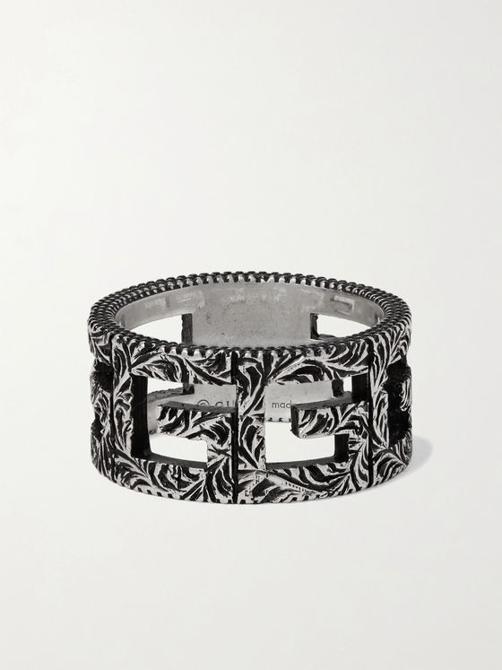 Gucci Engraved Burnished Sterling Silver Ring