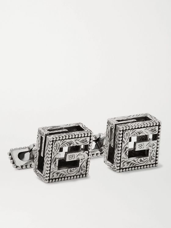 Gucci Engraved Burnished Sterling Silver Cufflinks