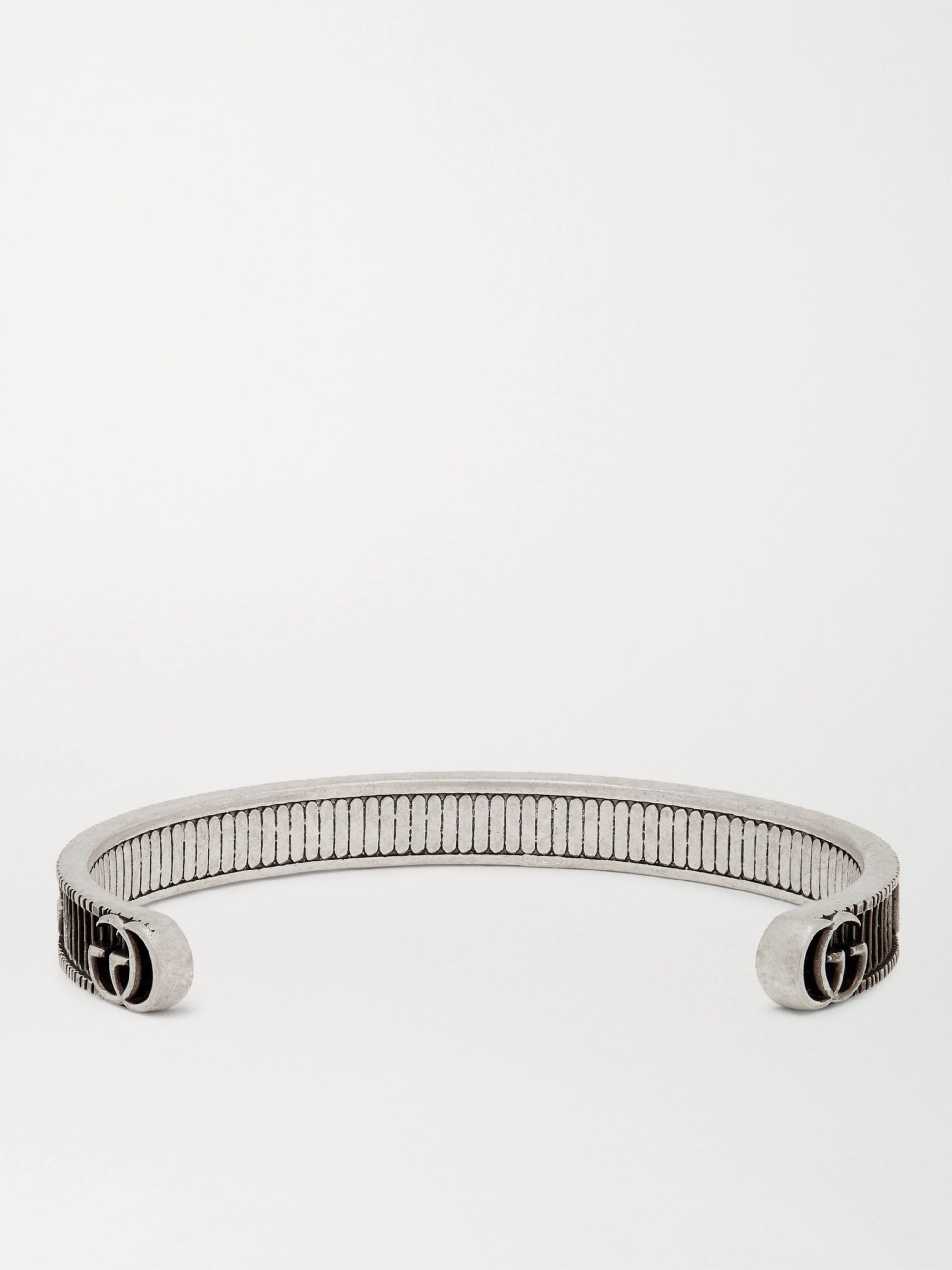 Gucci Engraved Burnished Sterling Silver Cuff
