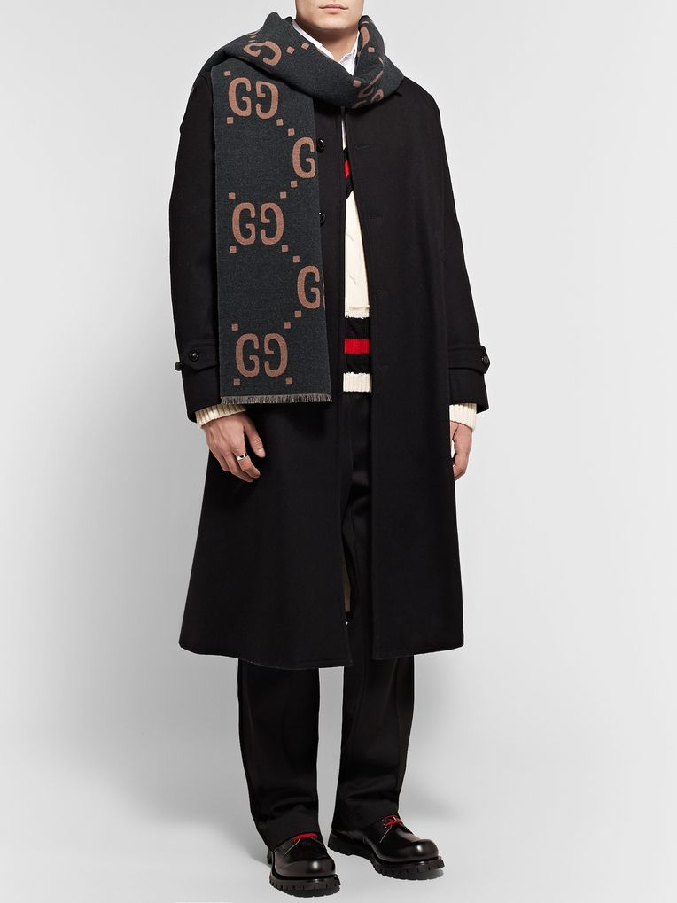 Gucci Fringed Logo-Jacquard Brushed Wool and Silk-Blend Scarf
