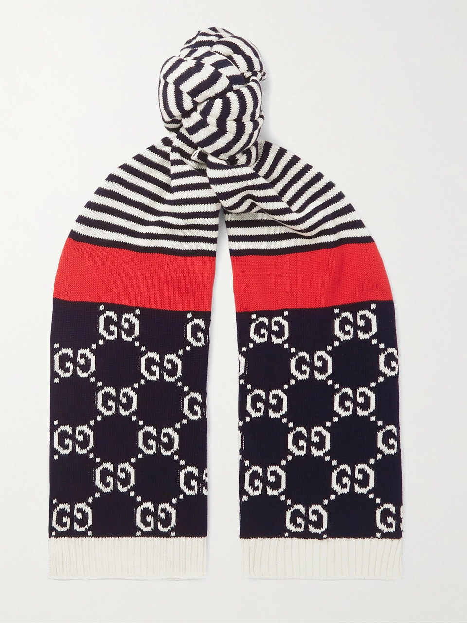Gucci Logo-Intarsia Striped Cotton Scarf