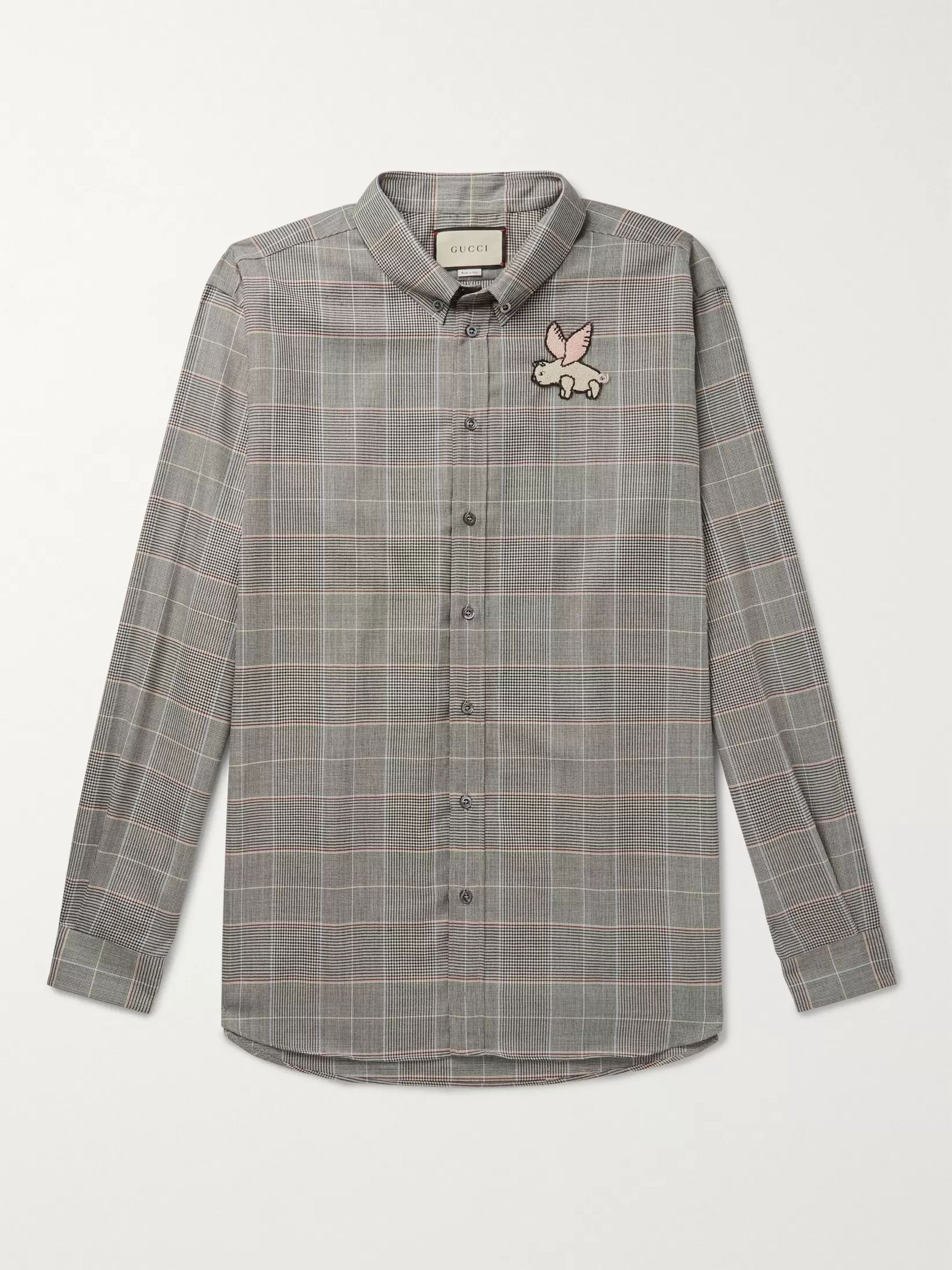 Gucci Oversized Button-Down Collar Appliquéd Prince Of Wales Checked Wool Shirt